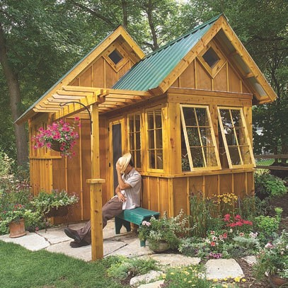 Build your own outdoor shed using outdoor shed plans for Potting shed plans diy blueprints