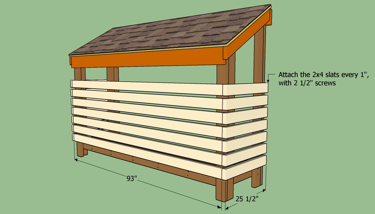 Firewood shed plans with living